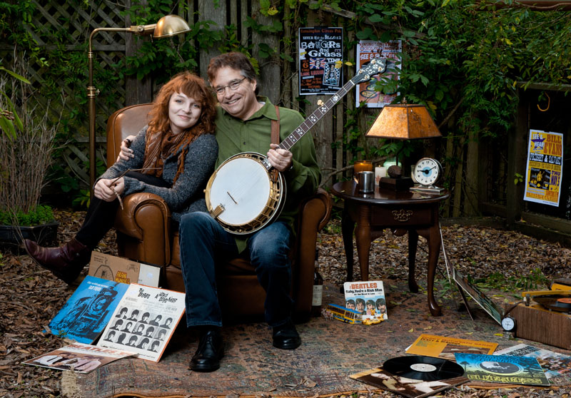 Bill and daughter Corey Evans in a rare relaxed moment at the cover shoot for the In Good Company CD, December 2011. Photo by Mike Melynk.