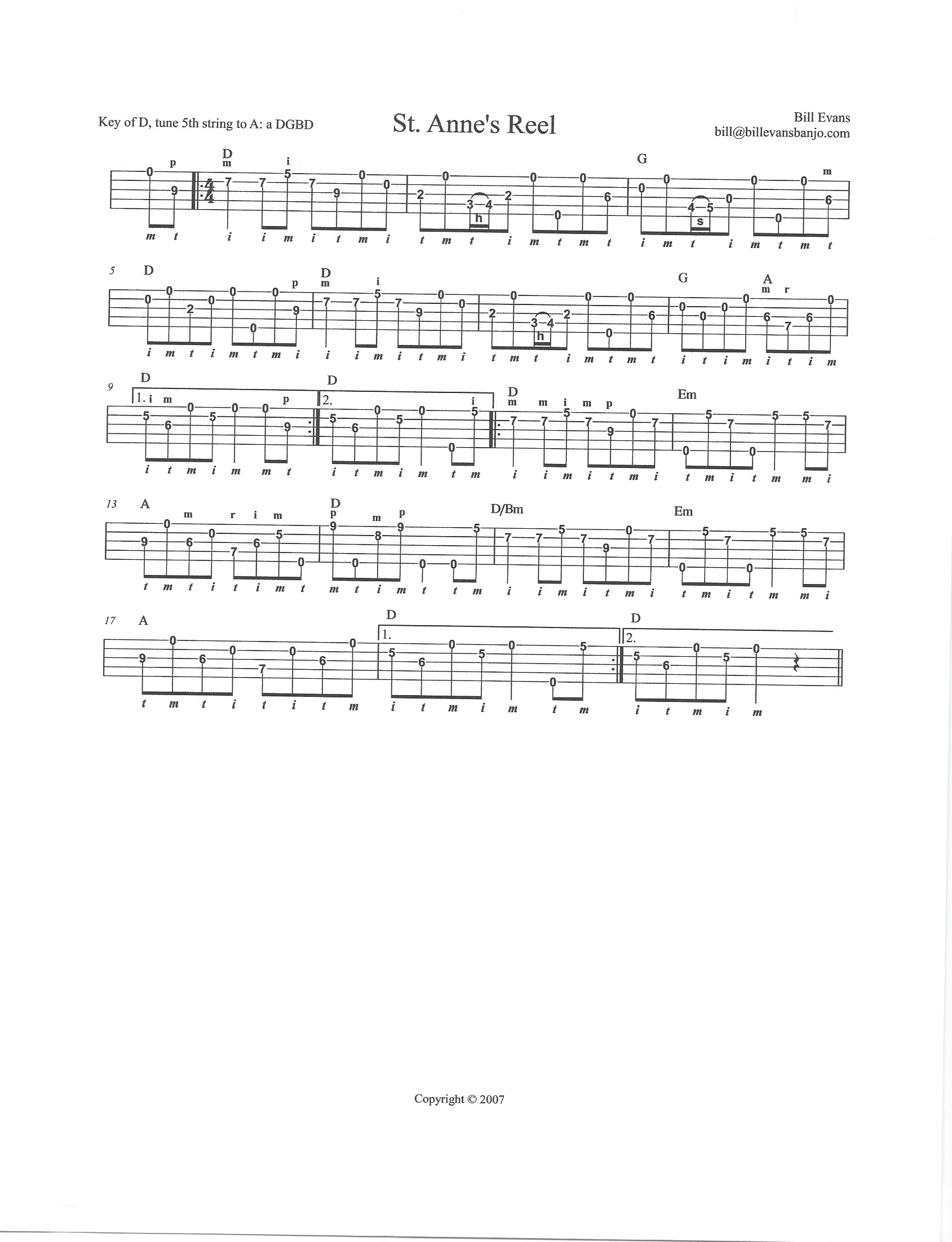 Tab by Bill Evans, key of D, banjo tuning aDGBD